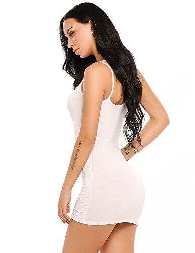 ADOME Sexy Bequem Klassische Damen Unterkleid Kurz Unterröcke Figurformend Neglige Minikleid Slim Ärmellos Beige Schwarz Weiß A.Weiß