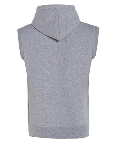 Gracious Girl - Abel hommes raffinent Zip Fleece Fixer capuche sans manches Gillet Sweat pour Veste Gris