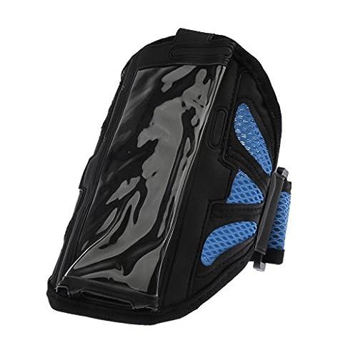 Imperméable Brassard Sac Pochette de Téléphone Portable Sport Running Armband Case Cover - Bleu, S