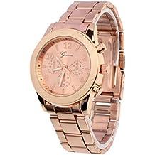 Vovotrade clásico de lujo mujer damas chica unisex reloj de pulsera de cuarzo de acero inoxidable, rosa de oro / dorado / plateado (Rosa dorado)