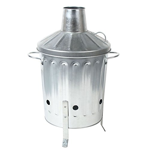CrazyGadget® 15L 15 Litre Galvanised Metal Incinerator Mini Garden Fire Bin BBQ for Burning Wood, Leaves, Paper & Cooking