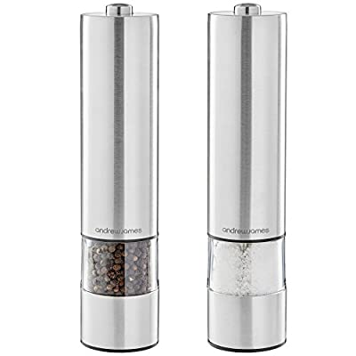 Andrew James Large Stainless Steel Electronic Salt And Pepper Mill Set Illuminates as it Grinds by Andrew James