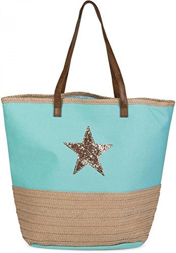 styleBREAKER Strandtasche mit Pailetten Stern und Bast, Schultertasche, Shopper, Badetasche, Damen 02012058, Farbe:Türkis
