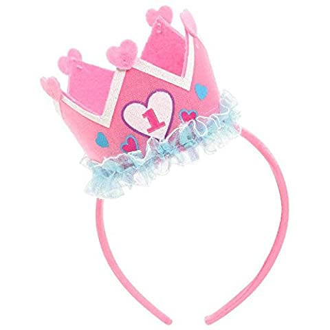 First Birthday Pink Headband with Crown