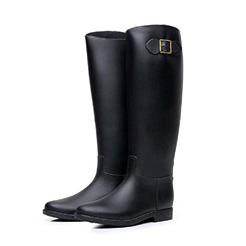 signora moda fermaglio stivali da pioggia Black