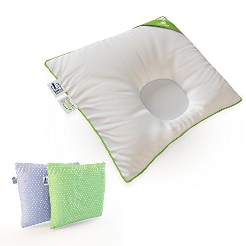 Lelekka® Gr.2 Babykissen gegen Verformung & Plattkopf inkl. 2 Bezüge. Mit ALOE VERA für empfindliche Haut (Bezüge Tupfen blau & Tupfen grün) Baby-Kopfkissen gg. Verformung des Hinterkopfs