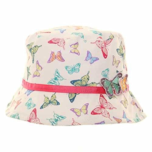 Girls Cotton sun hat - Butterfly print and detail