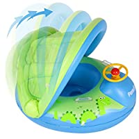 Peradix Baby Swimming Pool Float Boat Trainer Seat Inflatable Swim Rings with Repair Patch and Adjustable Sunshade Kids Inflatable Pool Toys for 6 to 36 Months (25Kg)(Green-With Repaire Patch)