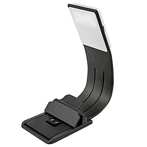 [Lámpara de Lectura LED] Aimego USB Recargables Lámparas-Clips 4 Brillo Ajustable Plegable para Libros, Kindle, iPad, Portátiles, etc. (Negro)