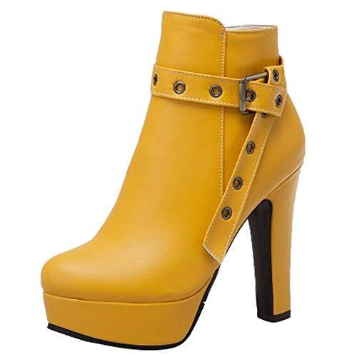 Carolbar Damen high Heels bunt Reißverschluss Ankle Boots (46 EU, Gelb)