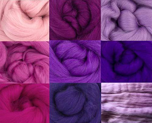 Tops de lana de merino, color rosa y morado, paquete de 9