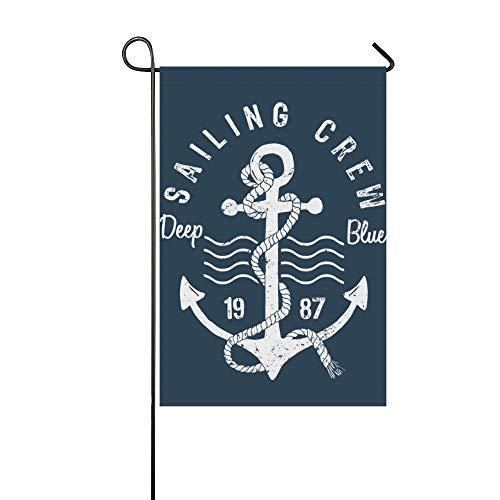 (JSXMNA Home Dekorative Outdoorflagge mit Anker im Ozean, doppelseitig, Marineblau, Muster, Garten-Flagge, Garten-Hof, Dekoration, saisonale Welcome-Flagge, 30,5 x 45,7 cm, Frühlings-Sommer-Geschenk)
