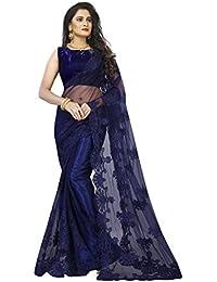 I-Brand Net Saree with Blouse Piece (ISUNS2694_Blue_Free Size)