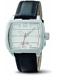 Moschino WATCH HEY MAN?! 3H SS SILVER DIAL BLACK STRA MW0114 - Reloj de caballero de cuarzo, correa de piel color negro