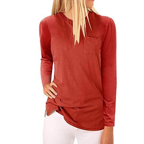 iHENGH Women Long Sleeve V-Neck Patchwork Pullover T-Shirt Blouse Tops(Rot, 2XL)