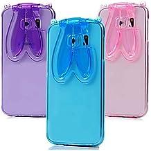 Casos hermosos, cubiertas, Lindo manera de silicona transparente orejas de conejo cordón volver destacan la cubierta del caso para el borde Samsung Galaxy S4 / S5 / ( Color : Rojo , Modelos Compatibles : Galaxy S6 Edge Plus )