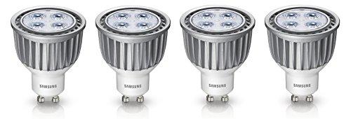4er Pack LED Lampe Samsung Performer Spot LED Reflektor Lampe PAR16 GU10 6W ersetzt 35W Lichtfarbe warmweiß 2700K 350lm dimmbar Ausstrahlwinkel 40° Ø 50mm 230V 680 cd SI-M8W073BD1EU 8806085471115 [Energieklasse A]