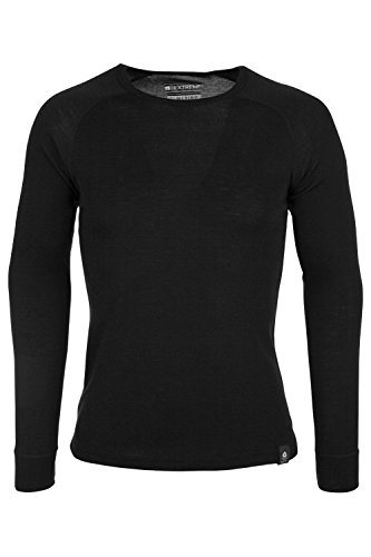 Mountain Warehouse Merino Langarm Baselayer-Thermotop für Herren - Leichtes T-Shirt, Warm, Antibakteriell, Schnelltrocknend - Ideal Bei kaltem Wetter Schwarz XX-Large