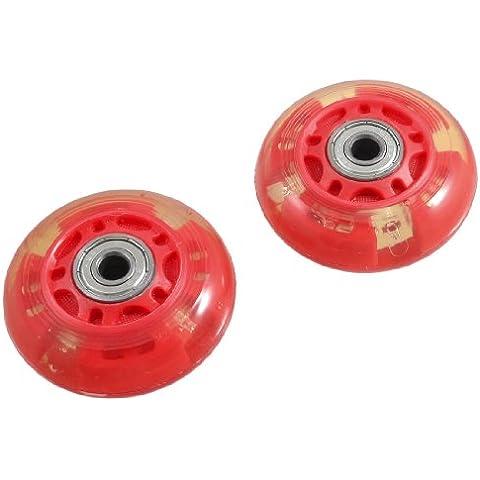 Par de Ruedas de Patines en Línea de Rodamiento 608ZZ con Diámetro de 8mm - Rojas