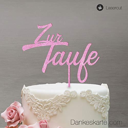 Dankeskarte.com Cake Topper Zur Taufe Zweizeilig - für die Tauftorte - Rosa-Glitzer - XL