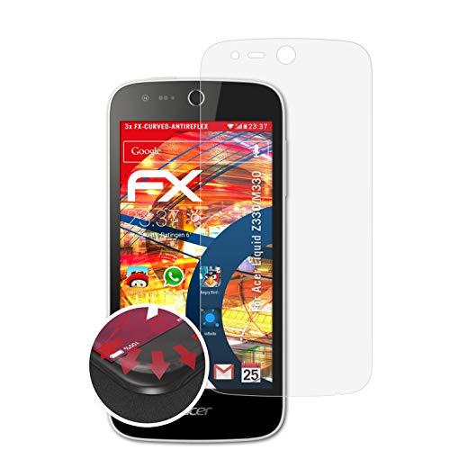 atFolix Schutzfolie passend für Acer Liquid Z330/M330 Folie, entspiegelnde & Flexible FX Bildschirmschutzfolie (3X)