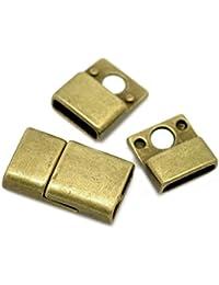 Housweety Bijoux Accessoires -5 Sets Fermoirs Magnetique Hematite Bronze 25mm x 14mm