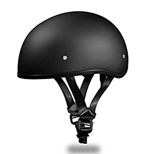 New!!! Slim Line Daytona Helmets *Skull Cap Style Motorcycle Helmet *Half (1/2) Shell Helmet-D.O.T. Approved DULL BLACK Smallest D.O.T. 1/2 Shell Helmet Ever Made! ***More Oval Than Round Helps Eliminate That Mushroom Look ***FREE Head Wrap And FREE Draw String Bag Included. No Worry No Hassle Return Policy. (Small)