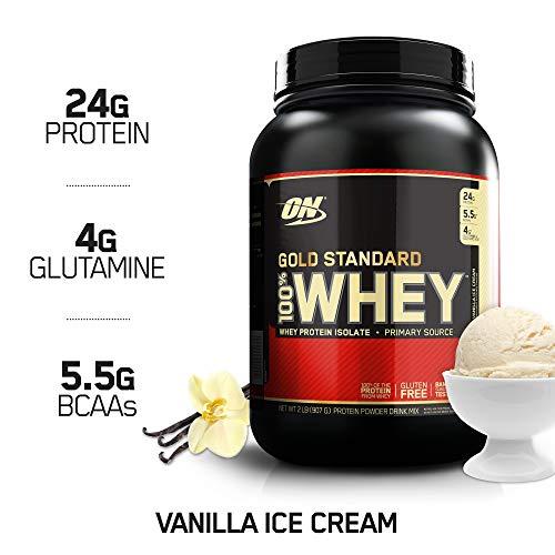Optimum Nutrition Gold Standard Whey Protein Pulver (mit Glutamin und Aminosäuren. Eiweisspulver von ON) Vanilla Ice Cream, 29 Portionen, 0,9kg - Protein Shaker Trinken Sie