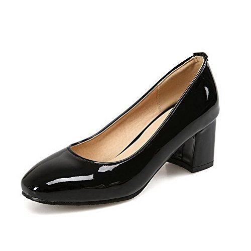 AgooLar Damen Ziehen auf Quadratisch Zehe Mittler Absatz Lackleder Rein Pumps Schuhe, Schwarz, 43