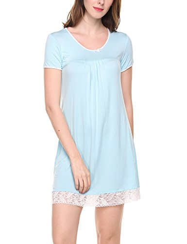 Unibelle Damen Nachthemd Kleid Nachtwäsche Negligees Kurzarm Mit Spitzenbesatz (XL, S-Hellblau) - Lange Lace Trim Kleid Blau