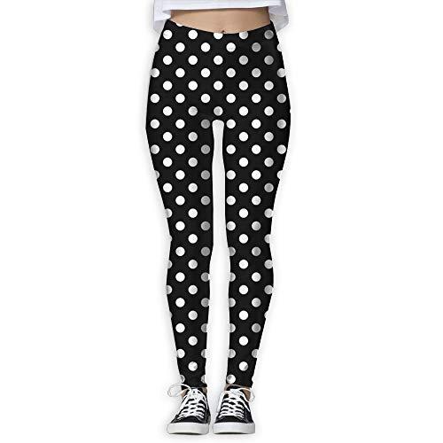 DLing Polka Dot Women High Waist Yoga Pants Yoga Capris Pants Power Flex Workout Leggings Capris Pants,L Polka Dot Capri Leggings