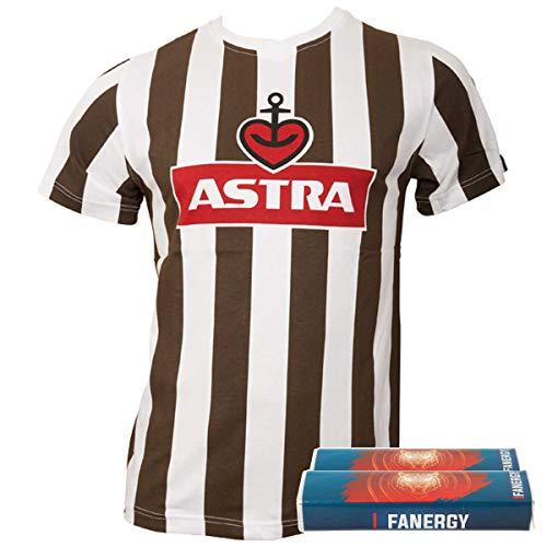FC St. Pauli Herren Astra Traditions-Shirt T-Shirt Fußball Fanartikel Logo Braun Weiß+ + 2X Fanergy Traubenzucker (L)
