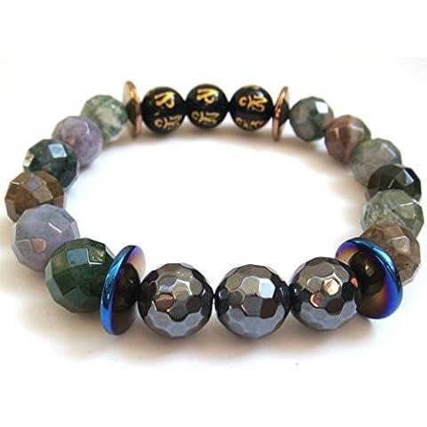 Naturale sfaccettato agata India hematitetibetan 6parole preghiera pietra braccialetto di energia amuleto Confezione Regalo
