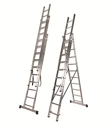 Escalera Profesional de Aluminio Triple Tijera con Tramo Extensible (3+3+3 mts). Escada Tripla (3+3+3 mts)