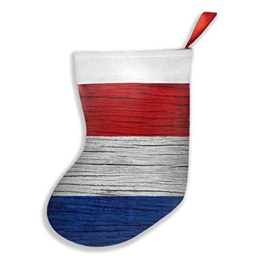 Voxpkrs Netherlands Holland Wooden Texture Dutch Flag Weihnachtsfeiertags-Strumpf-Weihnachtssocken für Familienfest-Dekorations-Geschenk