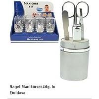 Elina med Manicure Set Manicure in Custodia Dose 4pezzi forbici per unghie–Lima per unghie–Pinzette–Tagliaunghie