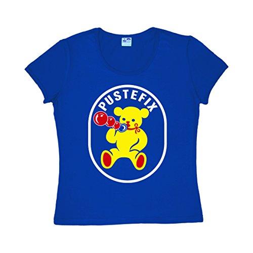Seifenblasen Kostüm (Frauen T-Shirt Pustefix - Seifenblasen - Nostalgie - Rundhals T-Shirt von Logoshirt - blau - Lizenziertes Originaldesign, Größe)