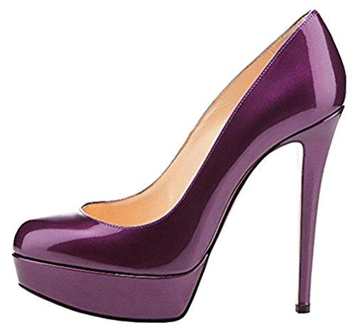 Calaier Femme Casoon 14CM Aiguille Glisser Sur Escarpins Chaussures Violet