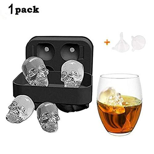 MIMINUO 3D Schädel Silikon Eiswürfelform, BPA Freie ,vier GIANT Skulls, Ice Cube Maker in Formen für Whiskey Eis und Cocktails,Maker Candy Schokolade Form Tablett , Halloween Bar Party DIY Werkzeug (1Pack)