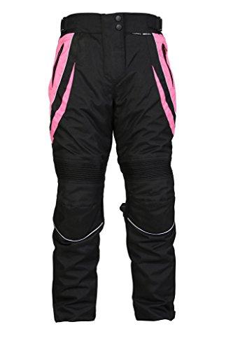 Turin - Damen Motorradhose mit Protektoren - wasserdicht - schwarz & rosa - Größe 44 normale Größe - W36 L30