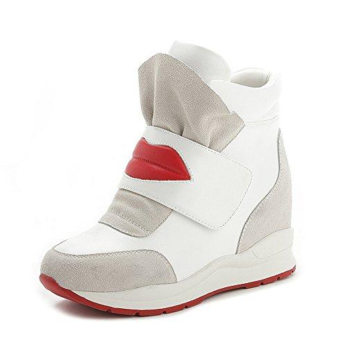 Dayiss Damen Sneaker Wedges Keilabsatz Stiefeletten Sportliche outdoor Turnschuh mit Klettverschluss Weiß