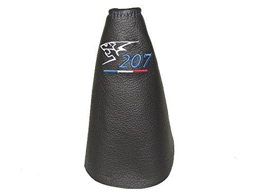 Schaltsack aus echtem Leder, schwarz mit blauer Stickerei Lion 207