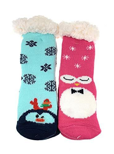 2 Paar Mädchen Hütten Socken Kinder Home Socks Teddyfutter Kuschelsocken Lammfellimitat ABS-Sohle Farbe GR-28-31, Größe 28-31 -