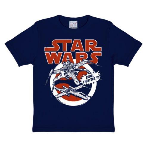 Logoshirt Star Wars - X-Wings T-Shirt Kinder Jungen - dunkelblau - Lizenziertes Originaldesign, Größe 104/116, 4-6 Jahre (Größe Star Wars Jungen, 6 Shirt Für)