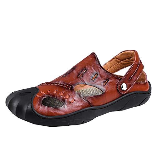 BURFLY Sommer Herren Größe Baotou Sandalen leichte atmungsaktive Strandschuhe Outdoor Rutschfeste Schuhe (Erwachsenen-raglan-langarm)