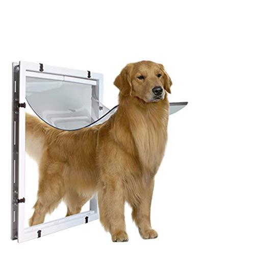 GXLO 2-Wege-Verriegelung Hanging Dog Flap Pet Door für großen Hund,White,59cmx43cmx5cm