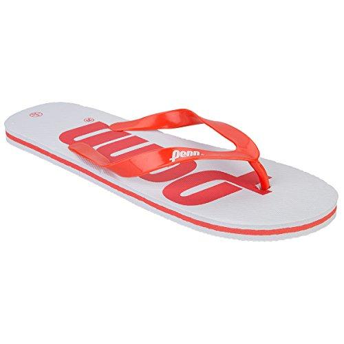 Herren Zehentrenner Penn Logo Text Reinschlüpfen Sommer Strand Flip-Flops Weiß/Rot