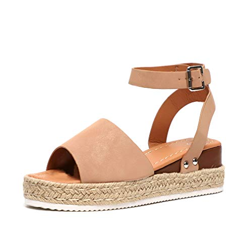 Sandalias Mujer Plataformas Alpargatas Cuña Verano Hebilla Zapatos Playa Punta Abierta Tacon 5.5cm...