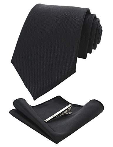 RBOCOTT Black Silk Tie and Pocke...
