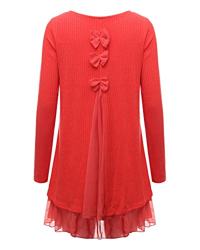 ZANZEA Femme Sweater Tricot Lâce Manche longue Haut Pull Mini-robe Cardigan Sweats Orange